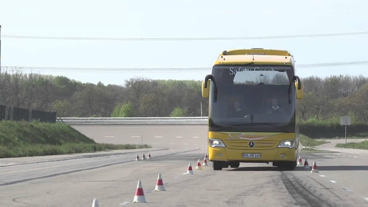 تست سیستم پایداری اتوبوس های مرسدس بنز