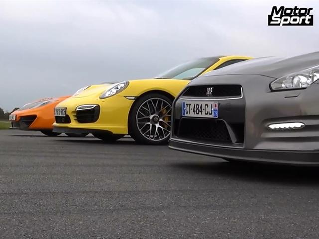 درگ ریس نیسان GT-R با پورشه 911 توربو و مک لارن MP4-12C
